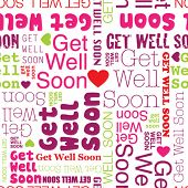 stock photo of wishing-well  - Get well soon seamless background pattern in vector - JPG