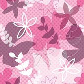 picture of dot pattern  - seamless retro flower background pattern with polka dot texture in vector - JPG