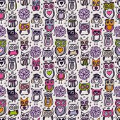 Seamless hand drawn owl pattern in vector