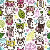 Cute colourfull seamless owl pattern in vector