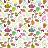 Seamless colourfull pattern with cute autumn leafs and mushrooms in vector