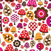 Seamless retro mushroom flower autumn pattern illustration in vector