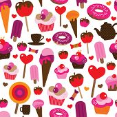 Seamless party candy cup cake ice cream background pattern in vector