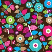 image of girly  - Seamless flower retro background pattern in vector - JPG