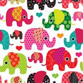 foto of girly  - Seamless retro elephant kids pattern wallpaper background in vector - JPG