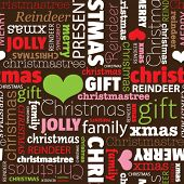 stock photo of merry christmas text  - Seamless merry christmas holiday typography pattern in vector - JPG