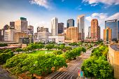 Houston, Texas, USA downtown city skyline over Root Square. poster