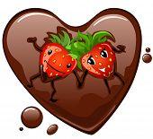 Cartoon morango supino no coração de chocolate