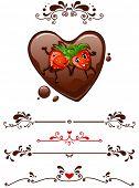 Cartoon morango supino no coração de chocolate e elementos decorativos