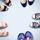 Assorted Summer Womens Shoes. Female Feet In Shoes. Fashion Background. poster