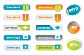 Vector download buttons and stickers, website elements
