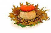 Naturmort With  Decorative   Pumpkin , Acorns And Oak Leafs