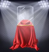Vector Realistic Illustration Of Museum Exhibit, Empty Glass Showcase Illuminated By Spotlights On T poster