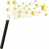 foto of magic-wand  - Vector Magic Wand and Stars - JPG