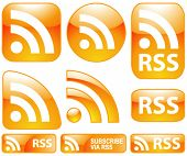 Vector Shiny Glossy 9 RSS Icons & Buttons Set