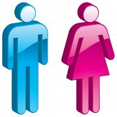 Vector Man & Woman - 3D Glossy Icon