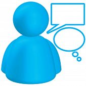Vector Plastic Cyan Person Icon with Speech Bubbles