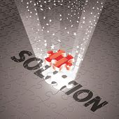 Vector Magical Solution for Business in Monotone & Single Red Puzzle Piece