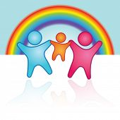 Vector Happy family in front of a rainbow