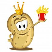 stock photo of french_fried  - cartoon happy potato holding a pack of French fries - JPG