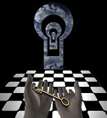 Key in human hands. Mystic keyholes and checkered floor. 3D rendering poster