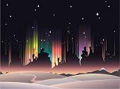 Winter peaceful view of aurora borealis