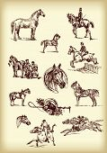 Vector hand drawn race horses