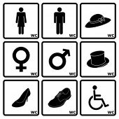 Signs indicating Women's and Men's Toilets