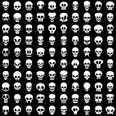 stock photo of skull crossbones  - one hundred different skulls on black background - JPG