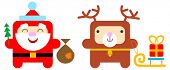 cartoon santa and deer