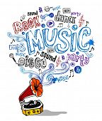 Vector illustration of retro gramophone and musical symbols and inscriptions