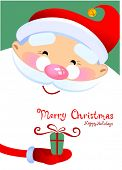 stock photo of santa-claus  - Christmas greeting card with Santa Claus Cartoon - JPG