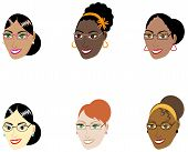 stock photo of kinky  - Vector Illustration of six different smart women with glasses and hair up in a bun - JPG