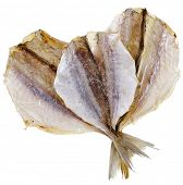 dried yellow stripe trevally fish isolated on white background