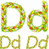 Vector Font Type Letter D Made From Flower Tulip