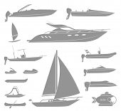 Set of different  types of boat and submarine