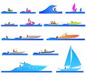 Pictograms representing people on different types of boat