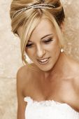 image of beautiful lady  - Beautiful Blond bride wearing diamond jewelery on her wedding day - JPG