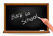 Back to school. Hand writing on a blackboard. Vector