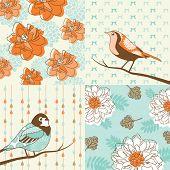 flower & bird seamless background