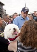 RIDGEFIELD PK, NJ-JULY 14: Famous 77 WABC radio host and dog lover Mark Levin surrounded by fans at