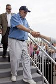 RIDGEFIELD PK, NJ-JULY 14: Famous 77 WABC radio host and dog lover Mark Levin shaking hands with a f