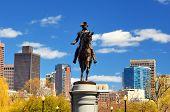 George Washington Statue at Boston Public Garden in Boston, Massachuetts.
