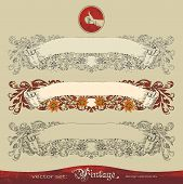 Three vector variants of old, vintage, ornate banner for decoration and design
