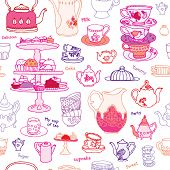 Seamless high tea cake party cup and pot vector pattern background