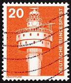 Postage stamp Germany 1976 Old Weser Lighthouse