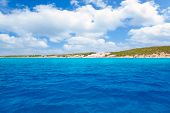 Formentera south Els Arenals Platja de Migjorn beach in Balearic sea view