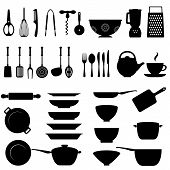 picture of tong  - Kitchen utensils and tool icon set on white background - JPG