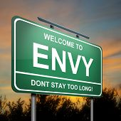 stock photo of envy  - Illustration depicting a green roadsign with an envy concept - JPG