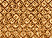 Teste padrão de flor dourada com texturas de fundo marrom escuro